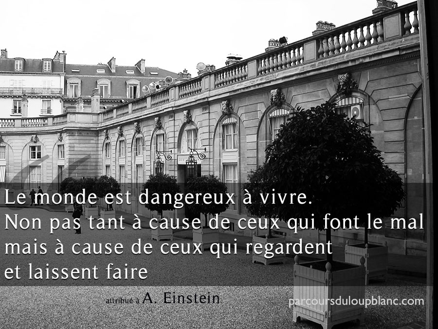Paris-Einstein citation Le monde est dangereux a cause de ceux qui regardent faire le mal