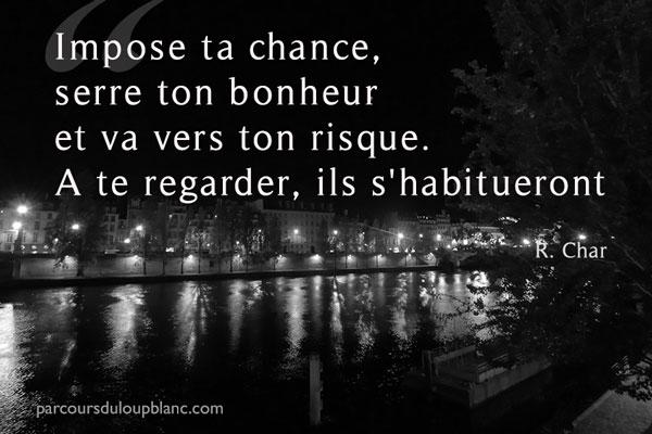Impose ta chance serre ton bonheur va vers ton risque